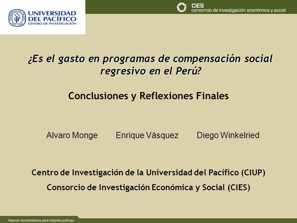 Alvaro Monge Enrique Vásquez Diego Winkelried ¿Es el gasto en programas de compensación social regresivo en el Perú? Centro de Investigación de la Uni