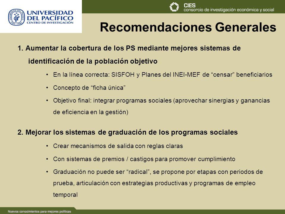 Recomendaciones Generales 1. Aumentar la cobertura de los PS mediante mejores sistemas de identificación de la población objetivo En la línea correcta