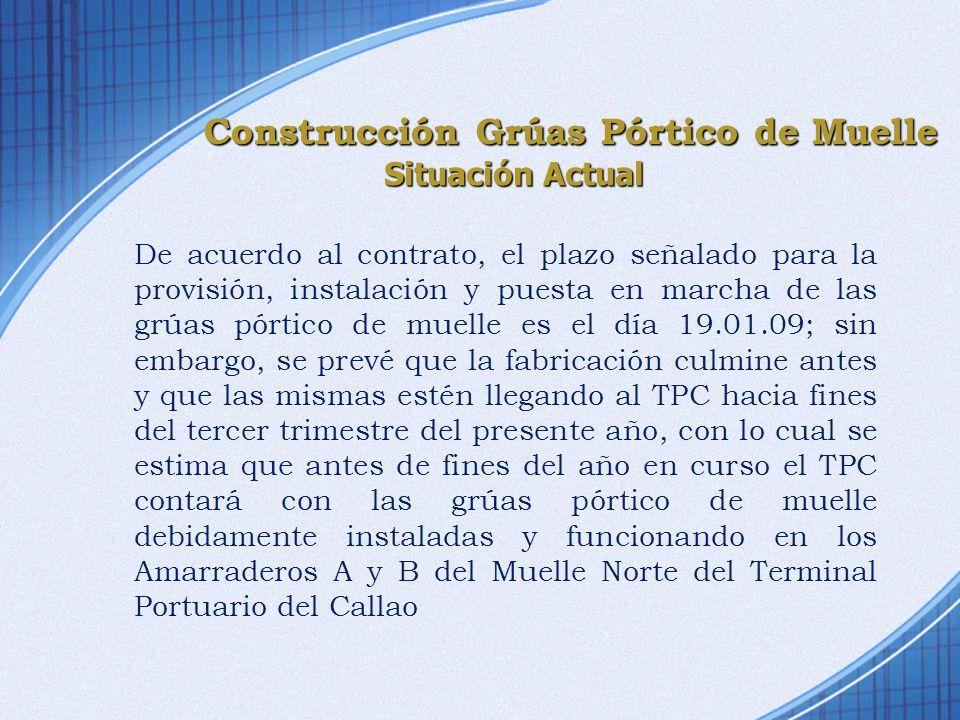 De acuerdo al contrato, el plazo señalado para la provisión, instalación y puesta en marcha de las grúas pórtico de muelle es el día 19.01.09; sin emb