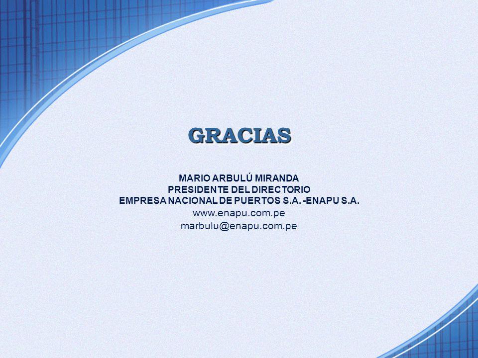 GRACIASGRACIAS MARIO ARBULÚ MIRANDA PRESIDENTE DEL DIRECTORIO EMPRESA NACIONAL DE PUERTOS S.A. -ENAPU S.A. www.enapu.com.pe marbulu@enapu.com.pe