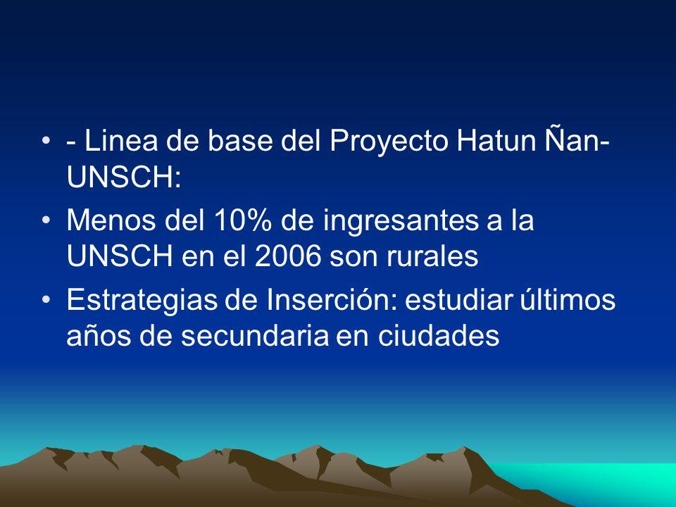 - Linea de base del Proyecto Hatun Ñan- UNSCH: Menos del 10% de ingresantes a la UNSCH en el 2006 son rurales Estrategias de Inserción: estudiar últimos años de secundaria en ciudades