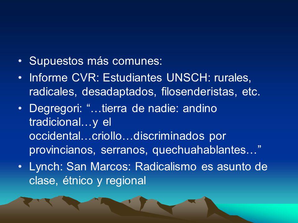 Supuestos más comunes: Informe CVR: Estudiantes UNSCH: rurales, radicales, desadaptados, filosenderistas, etc.