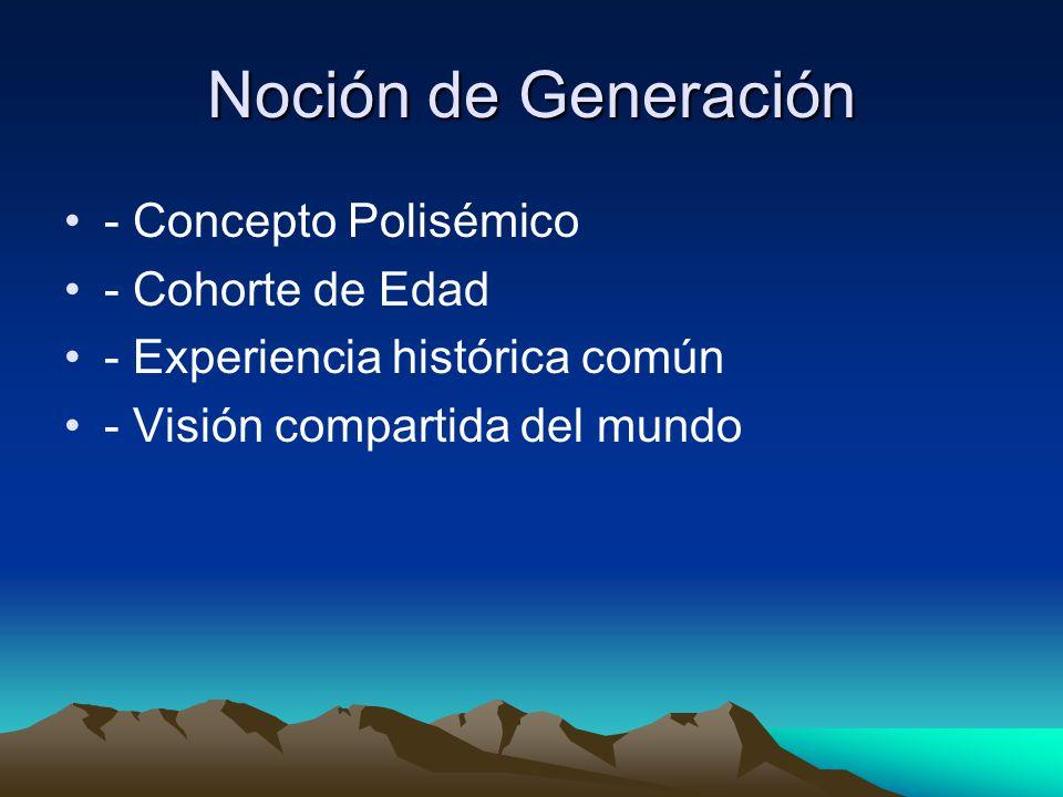 Noción de Generación - Concepto Polisémico - Cohorte de Edad - Experiencia histórica común - Visión compartida del mundo