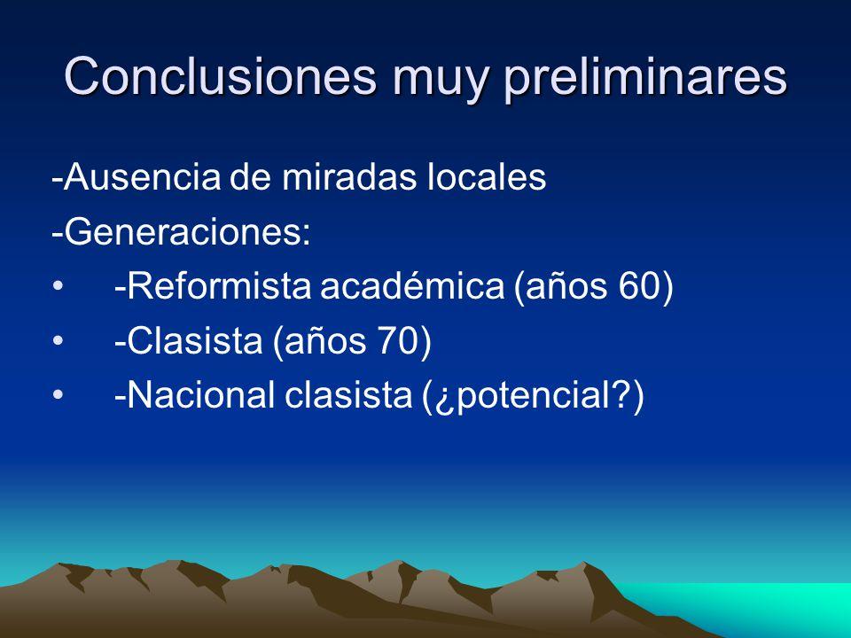 Conclusiones muy preliminares -Ausencia de miradas locales -Generaciones: -Reformista académica (años 60) -Clasista (años 70) -Nacional clasista (¿potencial?)