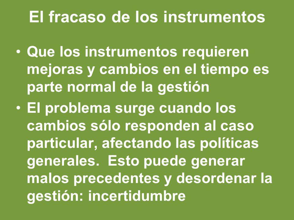 El fracaso de los instrumentos Que los instrumentos requieren mejoras y cambios en el tiempo es parte normal de la gestión El problema surge cuando los cambios sólo responden al caso particular, afectando las políticas generales.