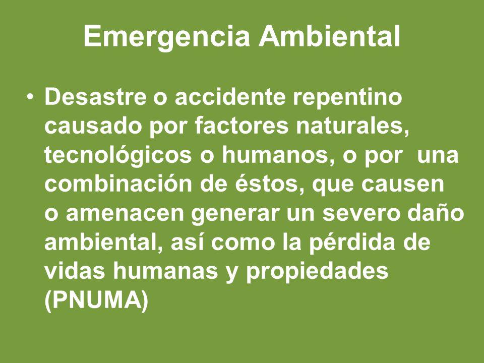 Emergencia Ambiental Desastre o accidente repentino causado por factores naturales, tecnológicos o humanos, o por una combinación de éstos, que causen o amenacen generar un severo daño ambiental, así como la pérdida de vidas humanas y propiedades (PNUMA)
