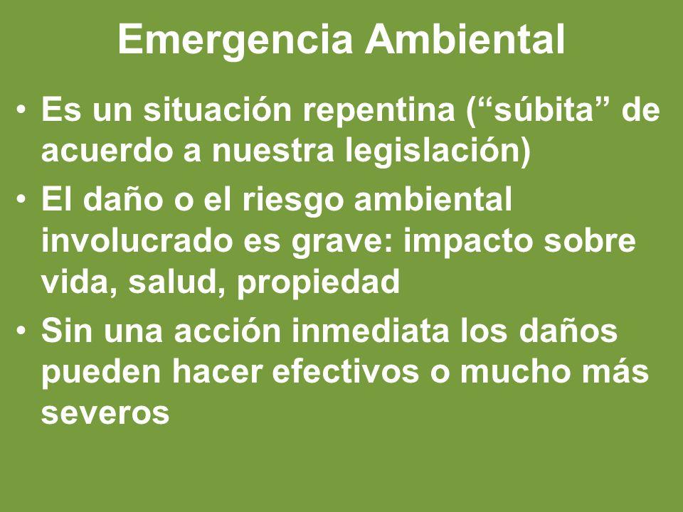 Emergencia Ambiental Es un situación repentina (súbita de acuerdo a nuestra legislación) El daño o el riesgo ambiental involucrado es grave: impacto sobre vida, salud, propiedad Sin una acción inmediata los daños pueden hacer efectivos o mucho más severos