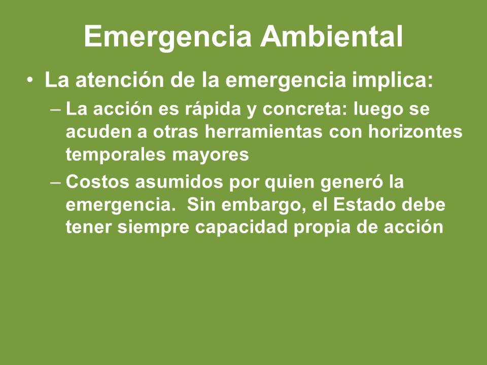 Emergencia Ambiental La atención de la emergencia implica: –La acción es rápida y concreta: luego se acuden a otras herramientas con horizontes temporales mayores –Costos asumidos por quien generó la emergencia.