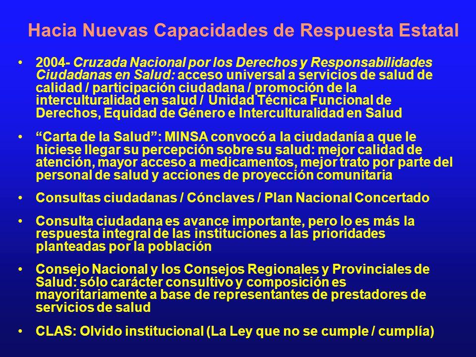 Hacia Nuevas Capacidades de Respuesta Estatal 2004- Cruzada Nacional por los Derechos y Responsabilidades Ciudadanas en Salud: acceso universal a serv