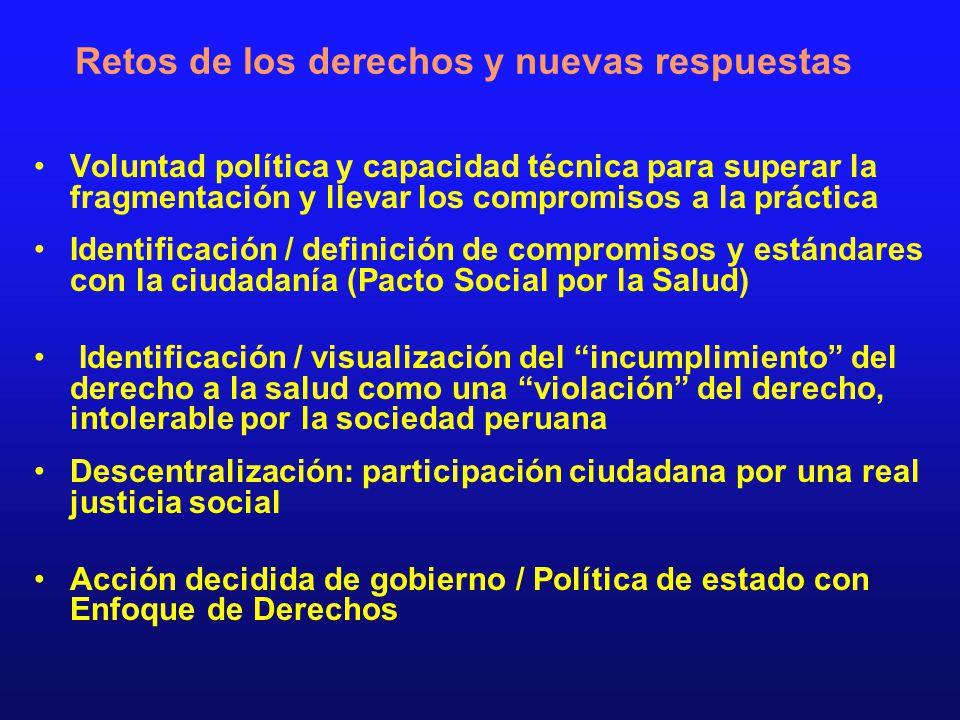 Retos de los derechos y nuevas respuestas Voluntad política y capacidad técnica para superar la fragmentación y llevar los compromisos a la práctica I