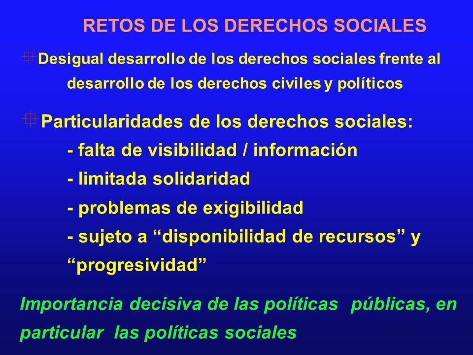 RETOS DE LOS DERECHOS SOCIALES Desigual desarrollo de los derechos sociales frente al desarrollo de los derechos civiles y políticos Particularidades