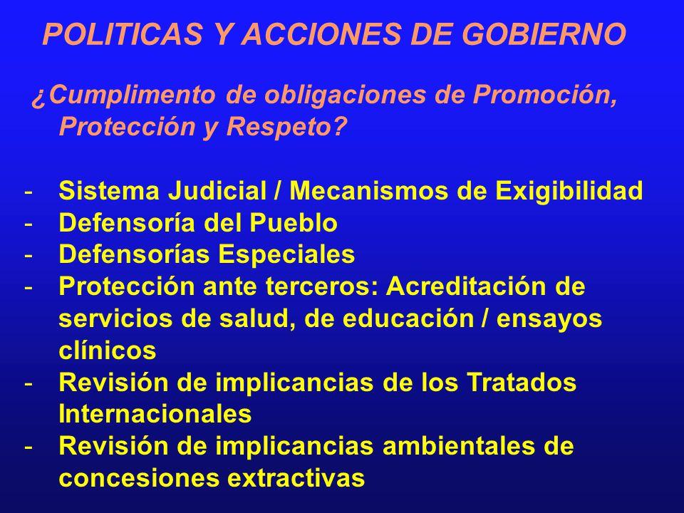 POLITICAS Y ACCIONES DE GOBIERNO ¿Cumplimento de obligaciones de Promoción, Protección y Respeto? -Sistema Judicial / Mecanismos de Exigibilidad -Defe