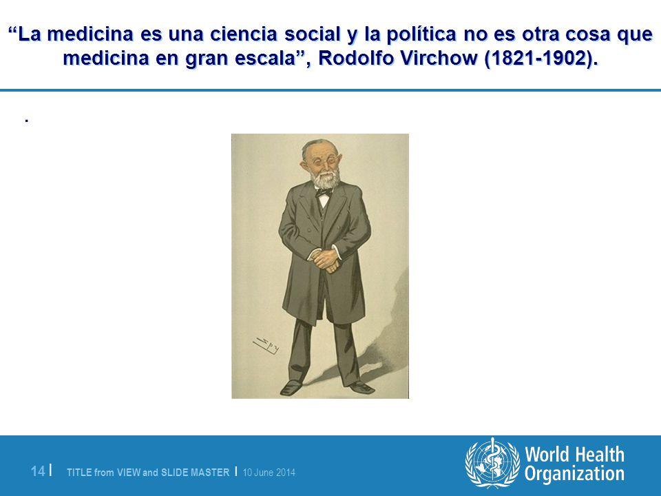 TITLE from VIEW and SLIDE MASTER | 10 June 2014 14 | La medicina es una ciencia social y la política no es otra cosa que medicina en gran escala, Rodolfo Virchow (1821-1902)..