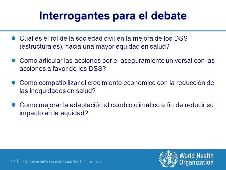 TITLE from VIEW and SLIDE MASTER | 10 June 2014 17 | Interrogantes para el debate Cual es el rol de la sociedad civil en la mejora de los DSS (estructurales), hacia una mayor equidad en salud.