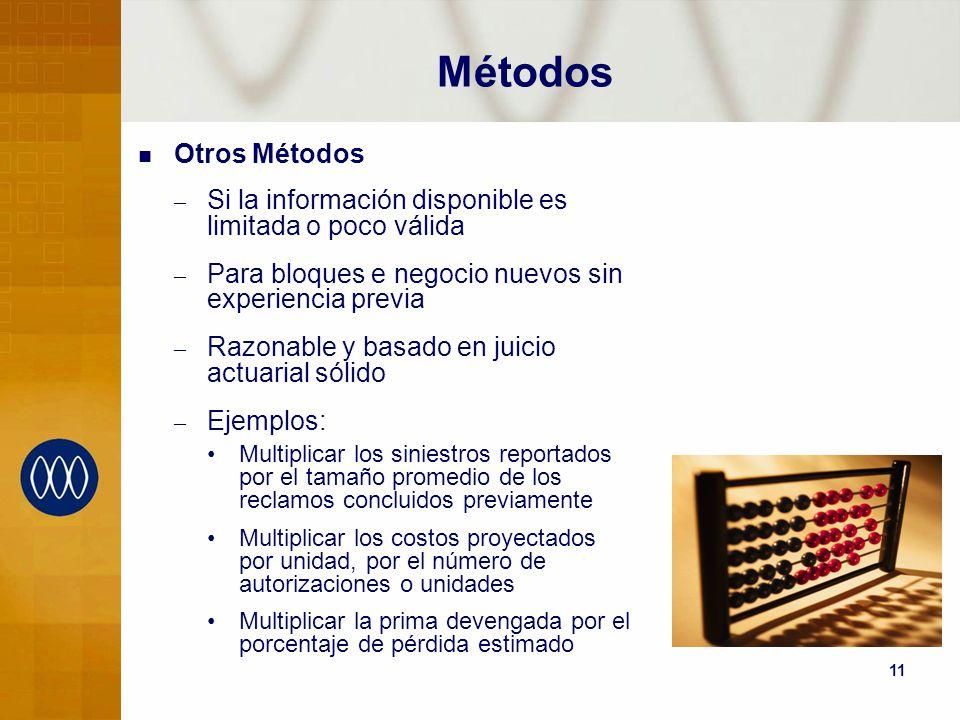 11 Métodos Otros Métodos – Si la información disponible es limitada o poco válida – Para bloques e negocio nuevos sin experiencia previa – Razonable y