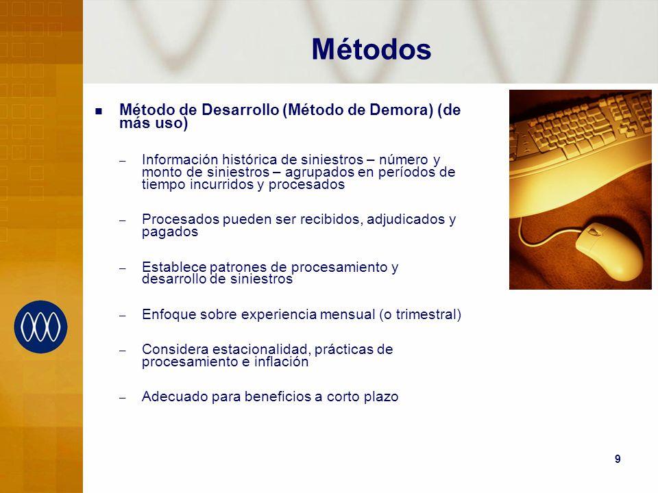 9 Métodos Método de Desarrollo (Método de Demora) (de más uso) – Información histórica de siniestros – número y monto de siniestros – agrupados en per
