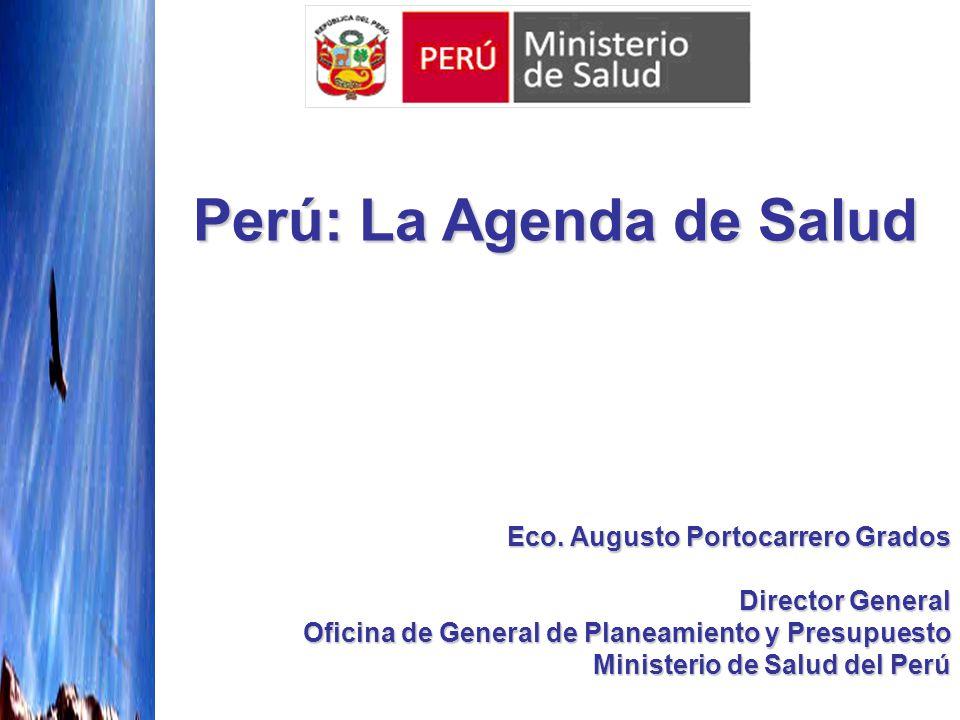 Eco. Augusto Portocarrero Grados Director General Oficina de General de Planeamiento y Presupuesto Ministerio de Salud del Perú Perú: La Agenda de Sal