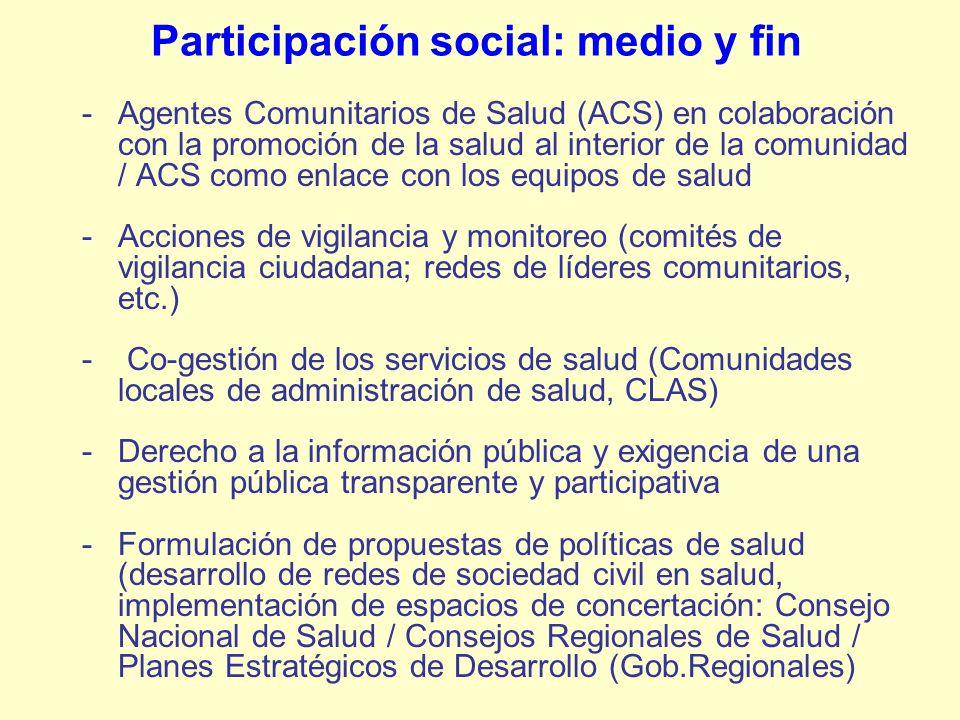 Participación social: medio y fin -Agentes Comunitarios de Salud (ACS) en colaboración con la promoción de la salud al interior de la comunidad / ACS
