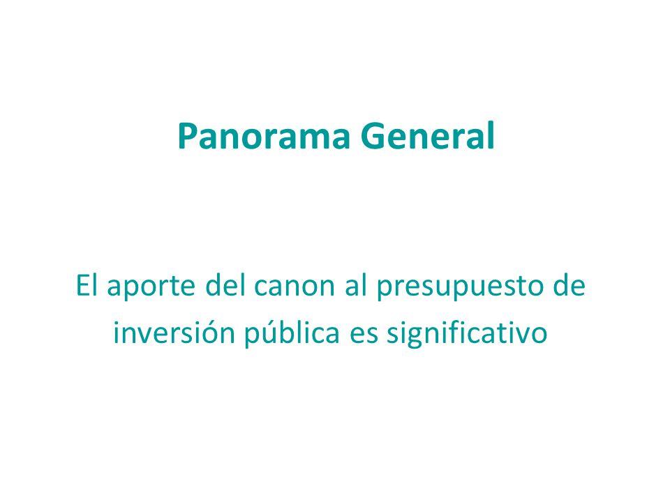 Panorama General El aporte del canon al presupuesto de inversión pública es significativo