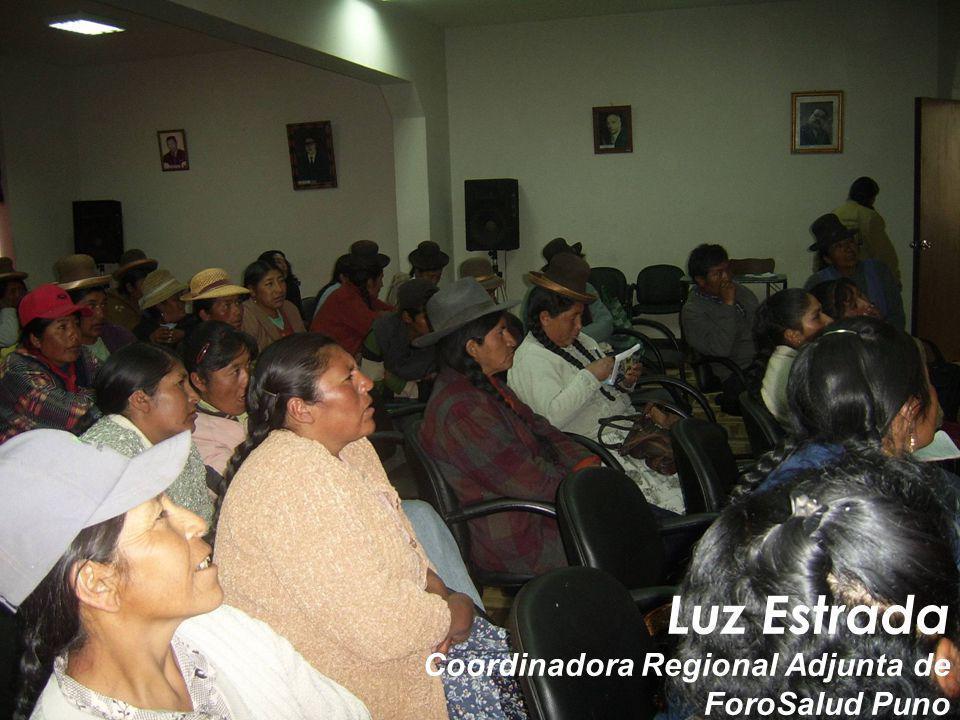 Luz Estrada Coordinadora Regional Adjunta de ForoSalud Puno