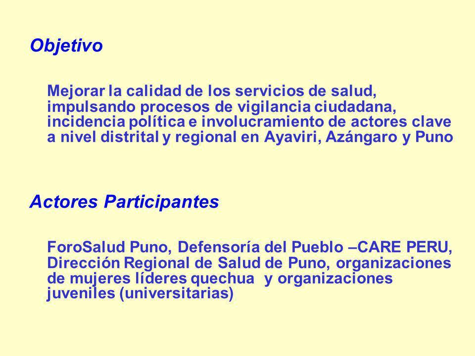 Objetivo Mejorar la calidad de los servicios de salud, impulsando procesos de vigilancia ciudadana, incidencia política e involucramiento de actores clave a nivel distrital y regional en Ayaviri, Azángaro y Puno Actores Participantes ForoSalud Puno, Defensoría del Pueblo –CARE PERU, Dirección Regional de Salud de Puno, organizaciones de mujeres líderes quechua y organizaciones juveniles (universitarias)