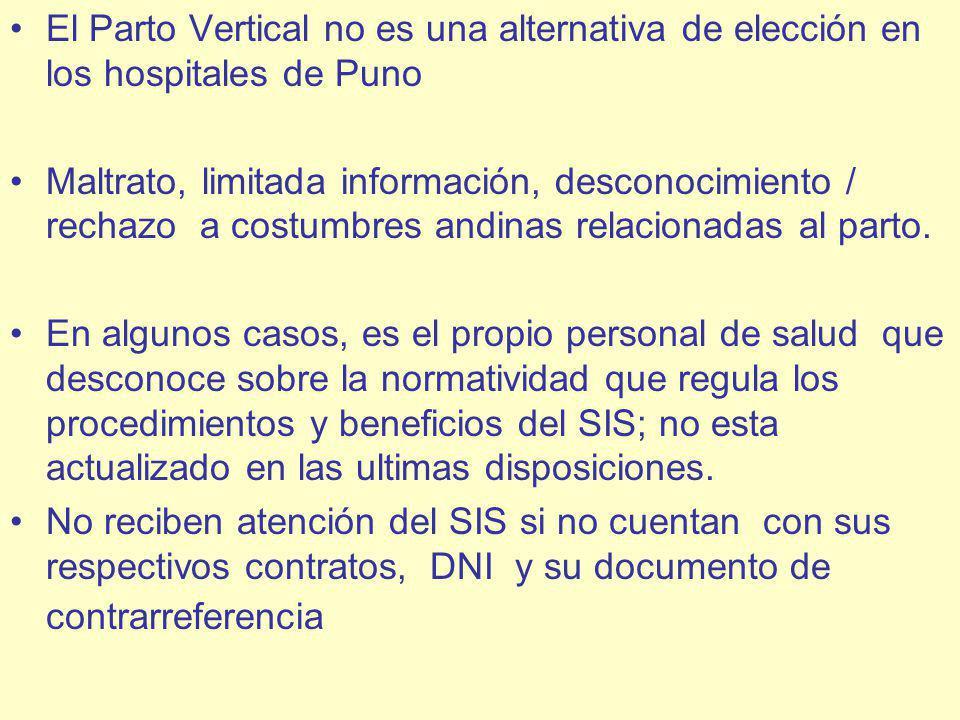 El Parto Vertical no es una alternativa de elección en los hospitales de Puno Maltrato, limitada información, desconocimiento / rechazo a costumbres andinas relacionadas al parto.