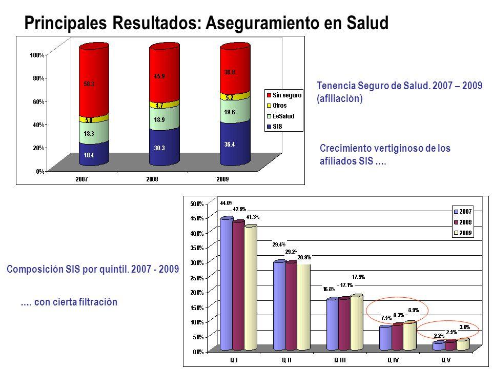 Principales Resultados: Aseguramiento en Salud Tenencia Seguro de Salud.