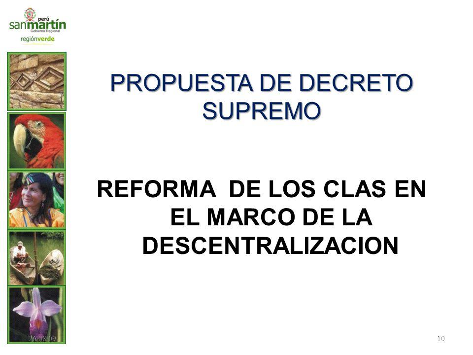 PROPUESTA DE DECRETO SUPREMO REFORMA DE LOS CLAS EN EL MARCO DE LA DESCENTRALIZACION 26/08/0910