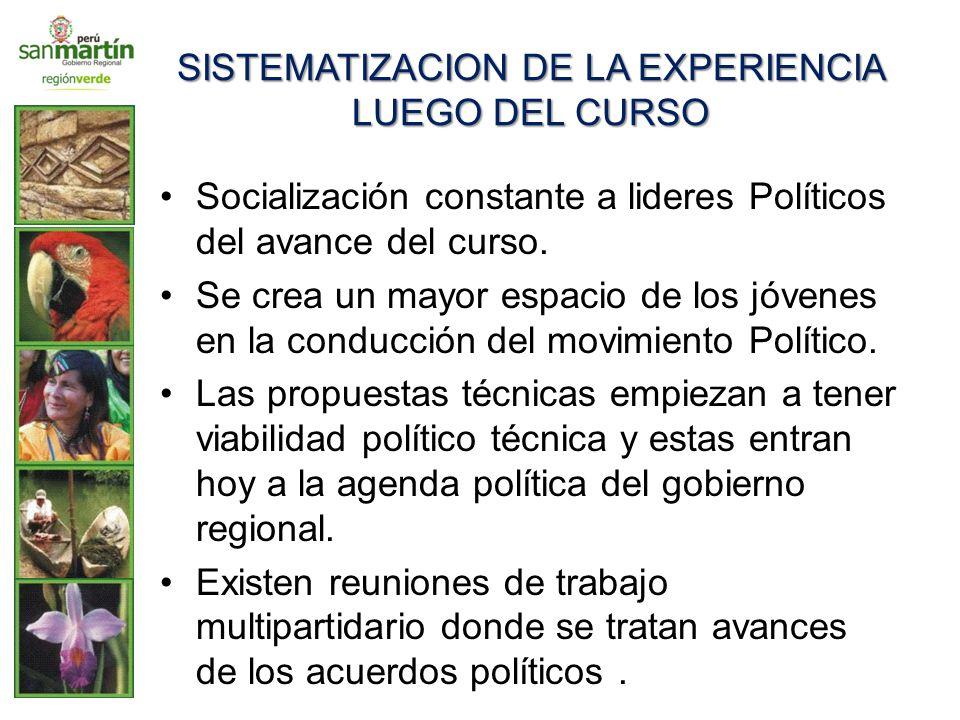 SISTEMATIZACION DE LA EXPERIENCIA LUEGO DEL CURSO Socialización constante a lideres Políticos del avance del curso. Se crea un mayor espacio de los jó
