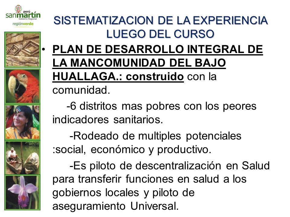 SISTEMATIZACION DE LA EXPERIENCIA LUEGO DEL CURSO PLAN DE DESARROLLO INTEGRAL DE LA MANCOMUNIDAD DEL BAJO HUALLAGA.: construido con la comunidad. -6 d