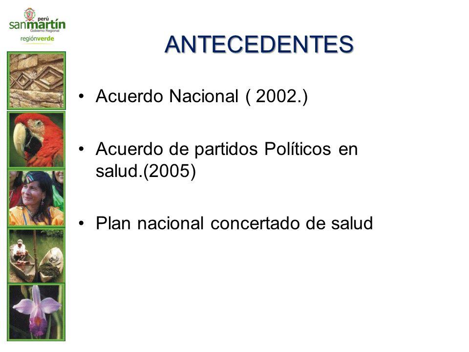 ANTECEDENTES Acuerdo Nacional ( 2002.) Acuerdo de partidos Políticos en salud.(2005) Plan nacional concertado de salud