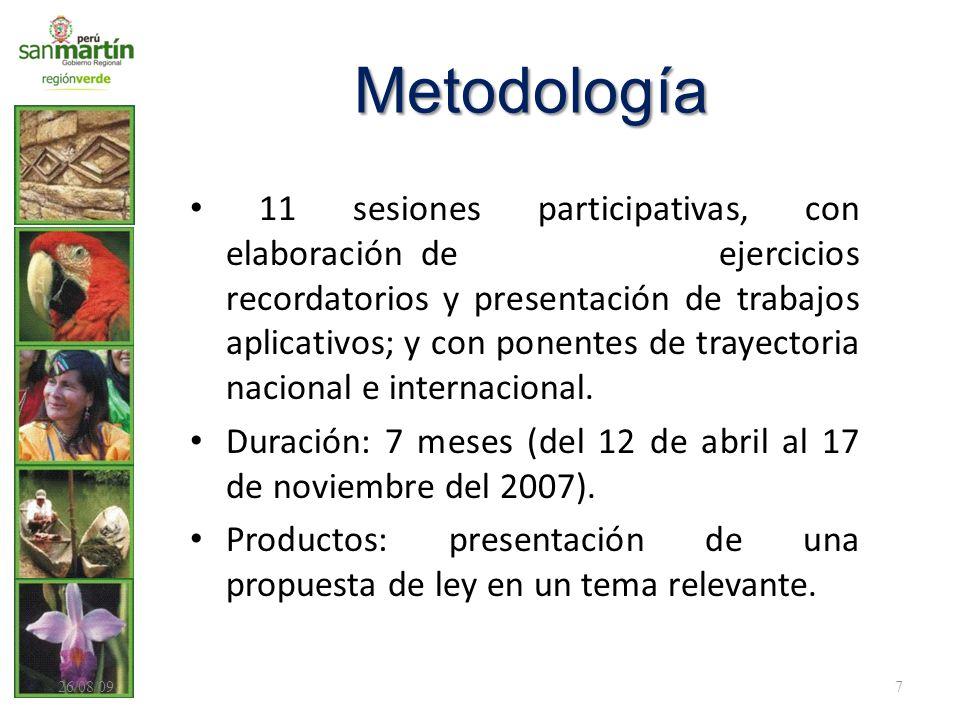 Metodología 11 sesiones participativas, con elaboración de ejercicios recordatorios y presentación de trabajos aplicativos; y con ponentes de trayecto