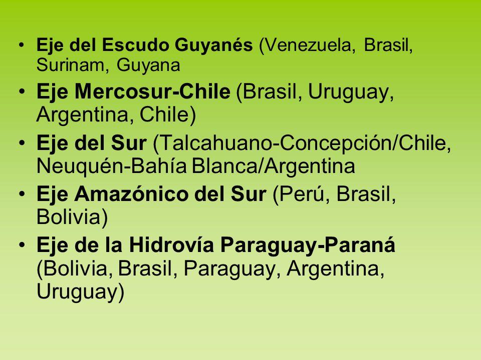 Eje del Escudo Guyanés (Venezuela, Brasil, Surinam, Guyana Eje Mercosur-Chile (Brasil, Uruguay, Argentina, Chile) Eje del Sur (Talcahuano-Concepción/C