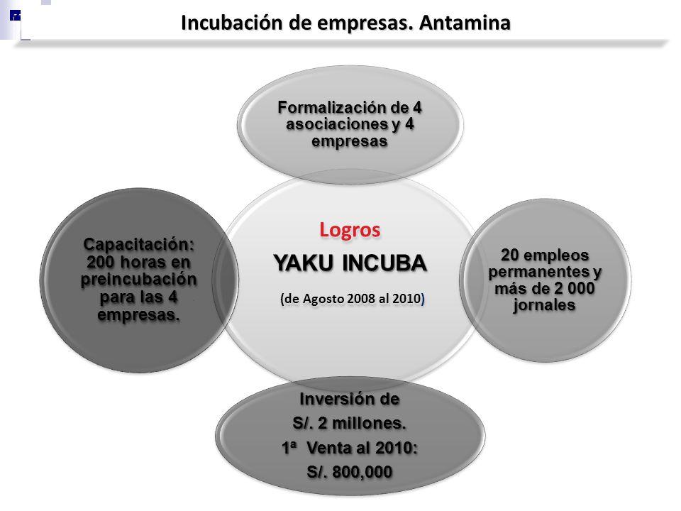 Incubación de empresas. Antamina Logros YAKU INCUBA (de Agosto 2008 al 2010 (de Agosto 2008 al 2010) Formalización de 4 asociaciones y 4 empresas 20 e