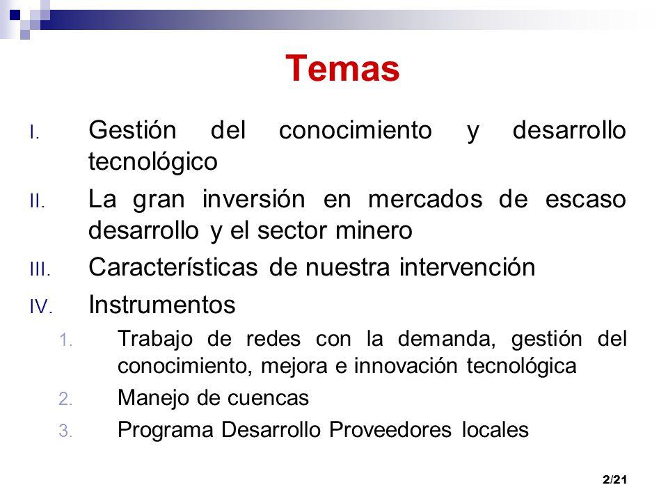 2/21 Temas I. Gestión del conocimiento y desarrollo tecnológico II. La gran inversión en mercados de escaso desarrollo y el sector minero III. Caracte