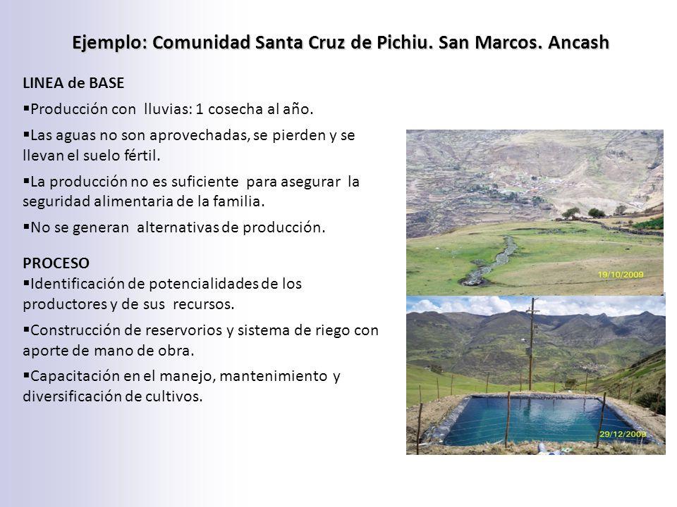 Ejemplo: Comunidad Santa Cruz de Pichiu. San Marcos. Ancash LINEA de BASE Producción con lluvias: 1 cosecha al año. Las aguas no son aprovechadas, se