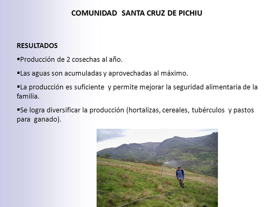 COMUNIDAD SANTA CRUZ DE PICHIU RESULTADOS Producción de 2 cosechas al año.