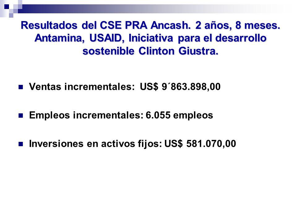 Ventas incrementales: US$ 9´863.898,00 Empleos incrementales: 6.055 empleos Inversiones en activos fijos: US$ 581.070,00 Resultados del CSE PRA Ancash.