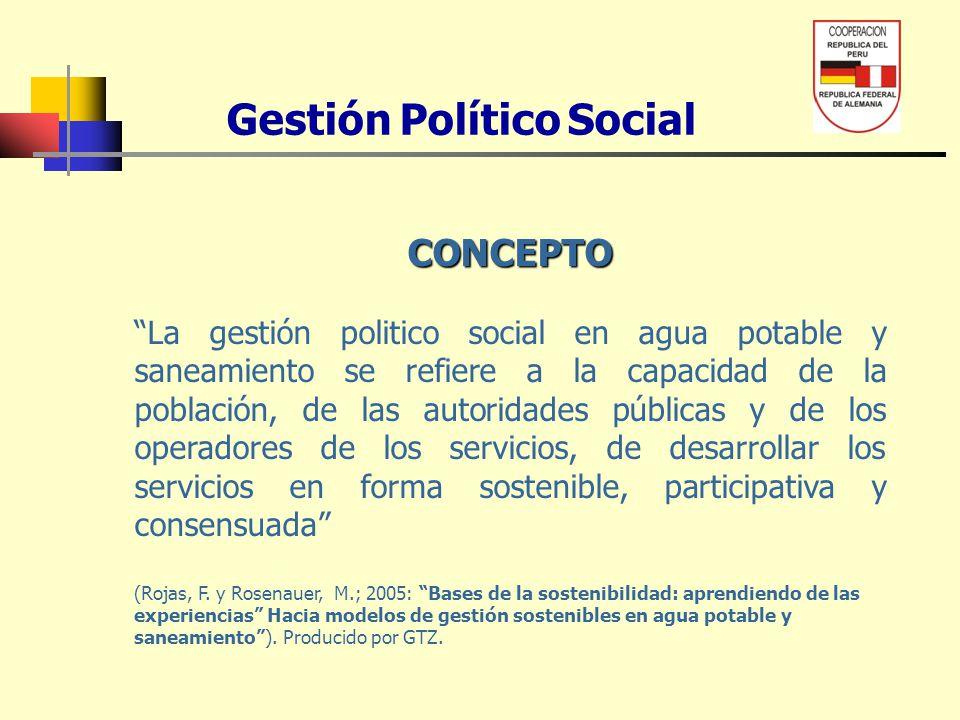 Gestión Político Social CONCEPTO La gestión politico social en agua potable y saneamiento se refiere a la capacidad de la población, de las autoridade