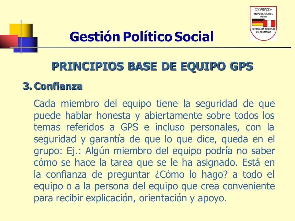 Gestión Político Social PRINCIPIOS BASE DE EQUIPO GPS 4.Honestidad Cada miembro del equipo tiene la honestidad y ética profesional de saber guardar la información confidencial que conoce y que se trabaja en GPS y de garantizar que la misma sea guardada por los demás miembros del equipo.