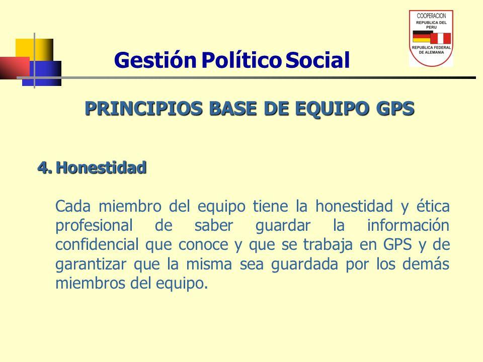 Gestión Político Social PRINCIPIOS BASE DE EQUIPO GPS 4.Honestidad Cada miembro del equipo tiene la honestidad y ética profesional de saber guardar la