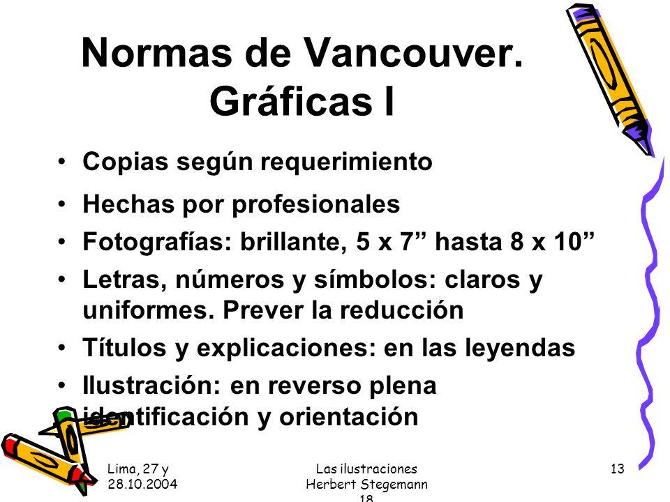 Lima, 27 y 28.10.2004 Las ilustraciones Herbert Stegemann 18 13 Normas de Vancouver.
