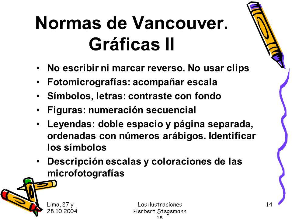 Lima, 27 y 28.10.2004 Las ilustraciones Herbert Stegemann 18 14 Normas de Vancouver.