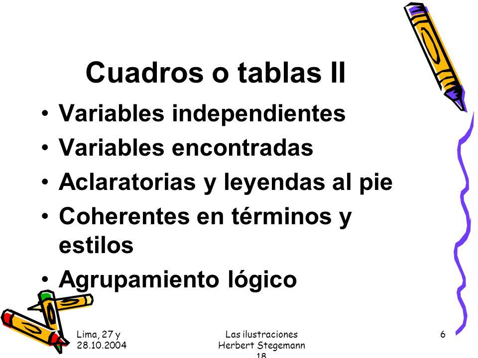Lima, 27 y 28.10.2004 Las ilustraciones Herbert Stegemann 18 6 Cuadros o tablas II Variables independientes Variables encontradas Aclaratorias y leyendas al pie Coherentes en términos y estilos Agrupamiento lógico
