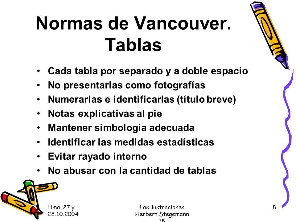 Lima, 27 y 28.10.2004 Las ilustraciones Herbert Stegemann 18 8 Normas de Vancouver.
