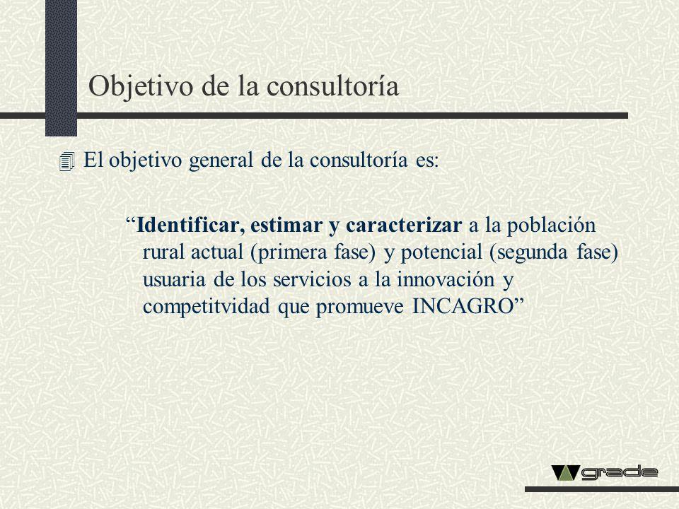 Objetivo de la consultoría 4 El objetivo general de la consultoría es: Identificar, estimar y caracterizar a la población rural actual (primera fase)