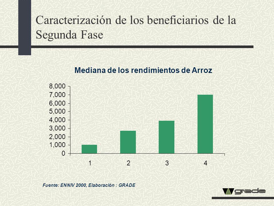 Caracterización de los beneficiarios de la Segunda Fase Mediana de los rendimientos de Arroz Fuente: ENNIV 2000, Elaboración : GRADE 0 1,000 2,000 3,0