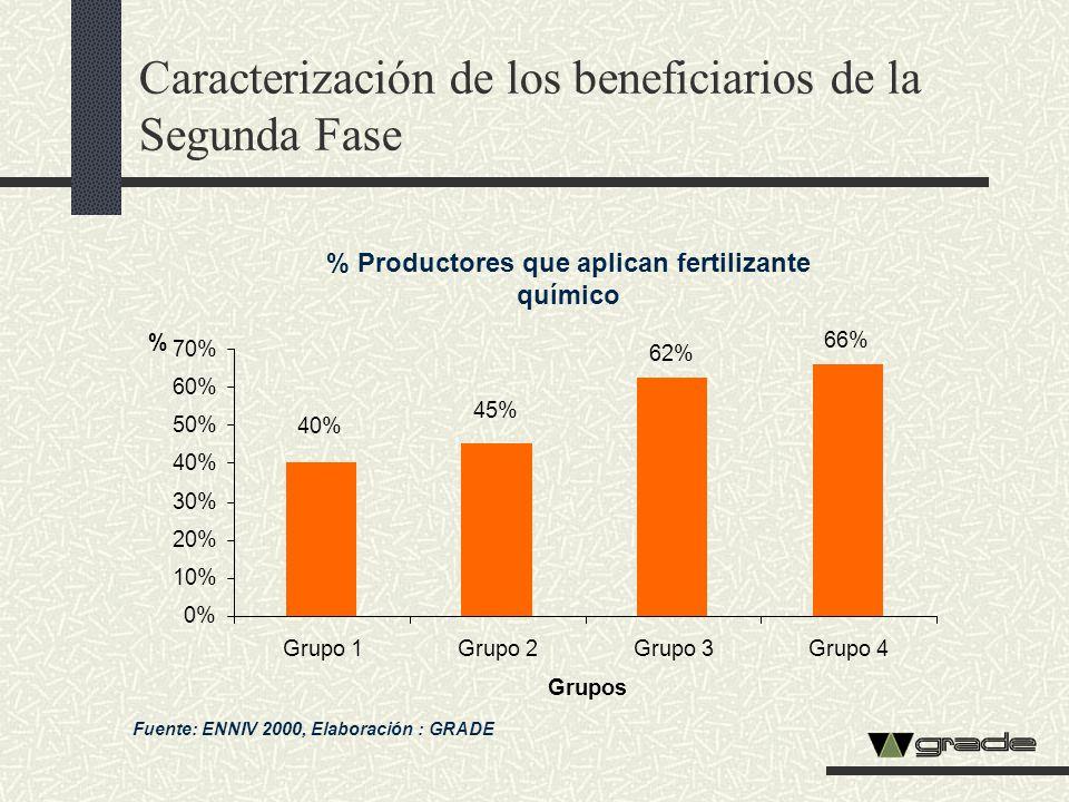Caracterización de los beneficiarios de la Segunda Fase % Productores que aplican fertilizante químico Fuente: ENNIV 2000, Elaboración : GRADE 62% 66%