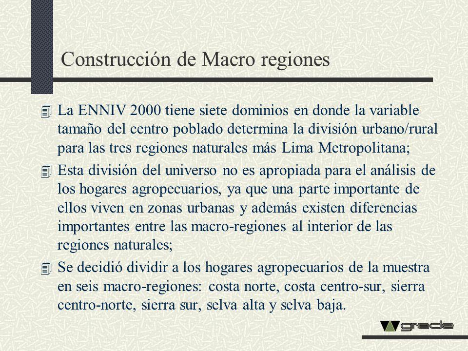 Construcción de Macro regiones 4 La ENNIV 2000 tiene siete dominios en donde la variable tamaño del centro poblado determina la división urbano/rural