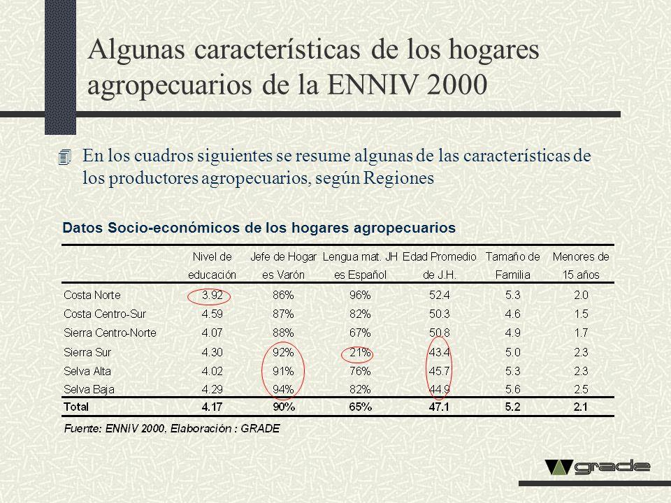 Algunas características de los hogares agropecuarios de la ENNIV 2000 4 En los cuadros siguientes se resume algunas de las características de los prod
